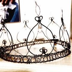 Corona, crown, couronne, filo di ferro, fil de fer, black metal wire, cristalli