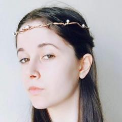 Coroncina Dama degli Elfi: tre diversi fili di ferro, rame e perle