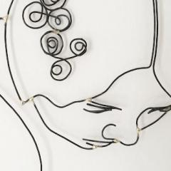 """Scultura in filo di ferro e argento, riproduzione di un particolare del quadro """"La Vergine"""" di Klimt. Artista Giulia Della Sala"""