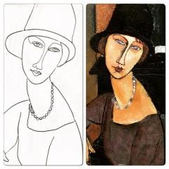 Jeanne Hébuterne con cappello e collana di Amedeo Modigliani riproduzione in filo di ferro e argento di Giulia Della Sala