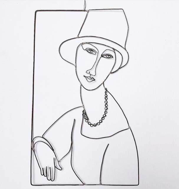 """Riproduzione del quadro di Modigliani """"Jeanne Hébuterne con cappello e collana"""" in filo di ferro Wireartlover"""