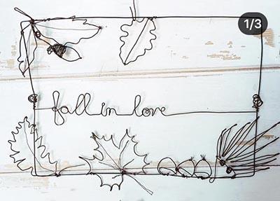 """Quadro autunnale """"Fall in love"""" in filo di ferro - Wireartlover"""